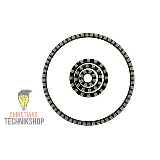 WS2812B RGB LED Rings black in different sizes | 8 - 60 LEDs possible