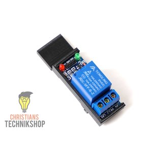1-Channel 5V Relay / Relais Module 10A - 250VAC incl. top-hat rail keeper EN50022